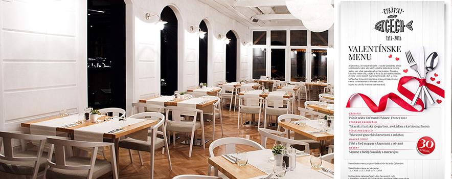 Reštaurácia Rybársky Cech Bratislava - Valentínske menu