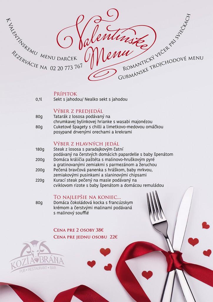 Valentínske a fašiangové menu v Kozej bráne
