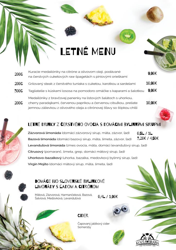 Letné menu v Kozej bráne