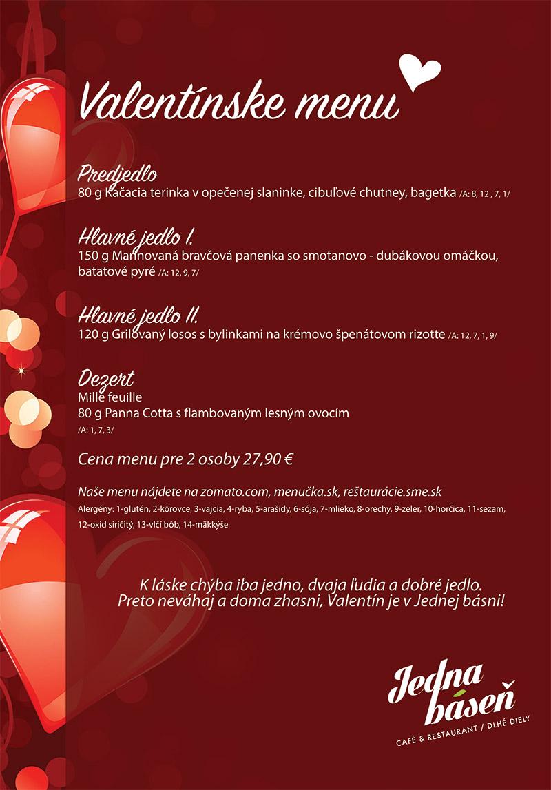 Valentín - valentínske menu - Jedna báseň Dlhé Diely