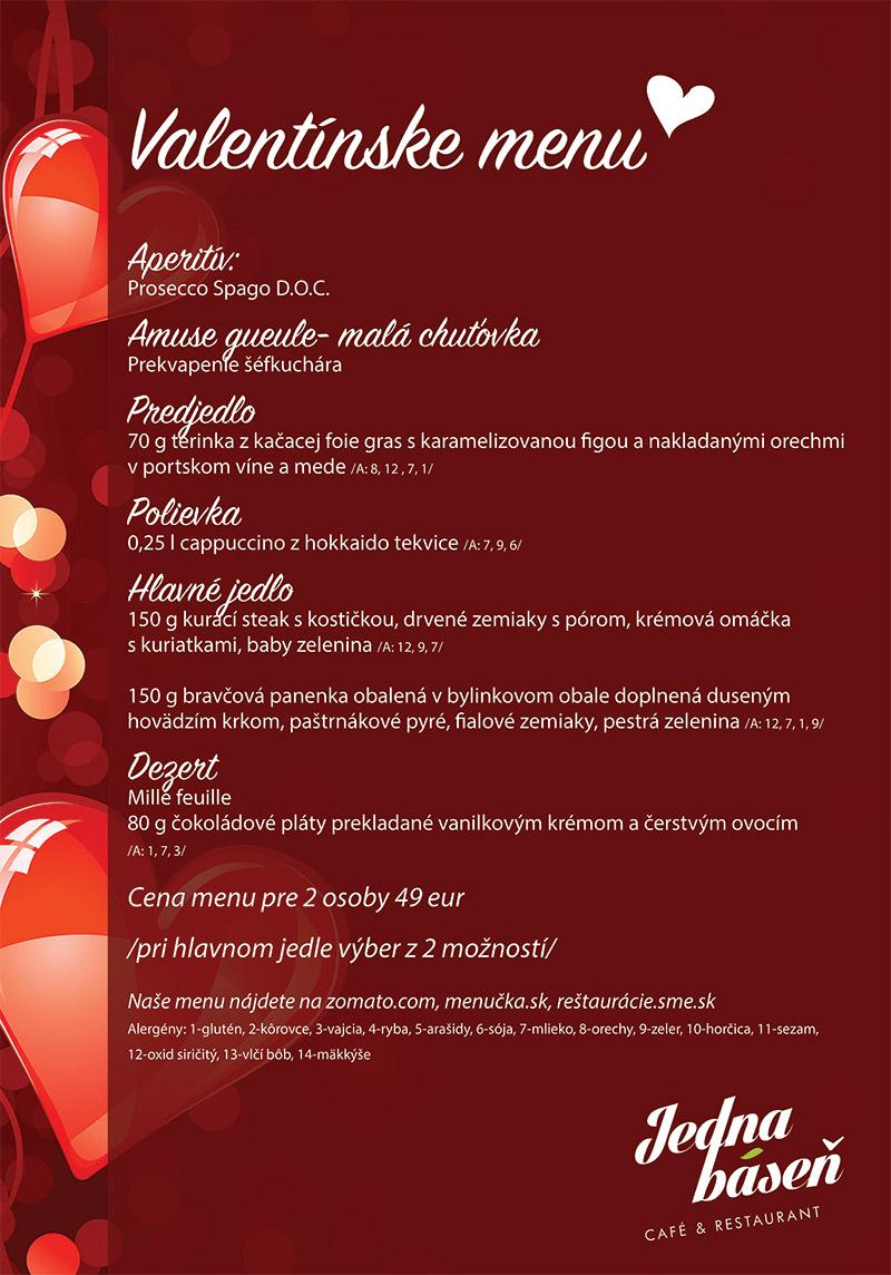 Valentín - valentínske menu - Jedna báseň Ružinov