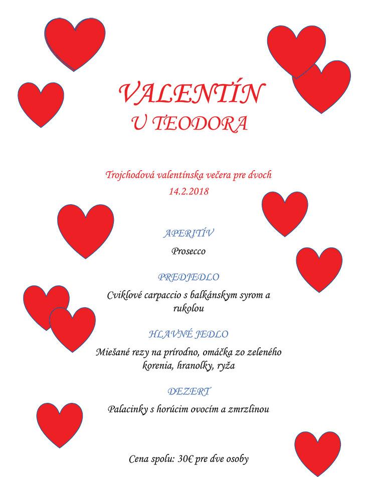 U Teodora Bratislava Rača - valentínske menu