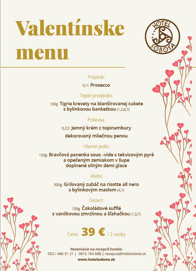 Hotel Sobota - Poprad Spišská Sobota - Valentínske menu