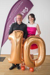 Andrea Šogorová s manželom na Galavečere 10 rokov FitCurves na Slovensku