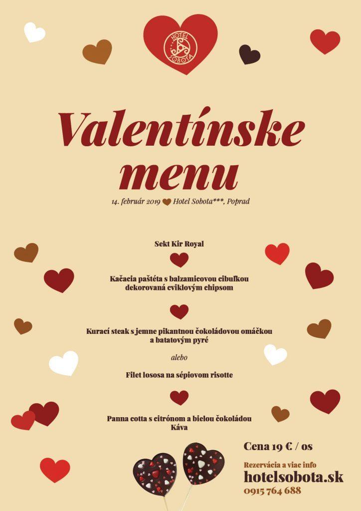 Hotel Sobota Valentínske menu