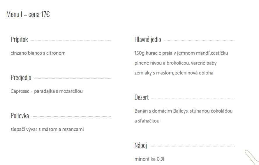 promočné menu: