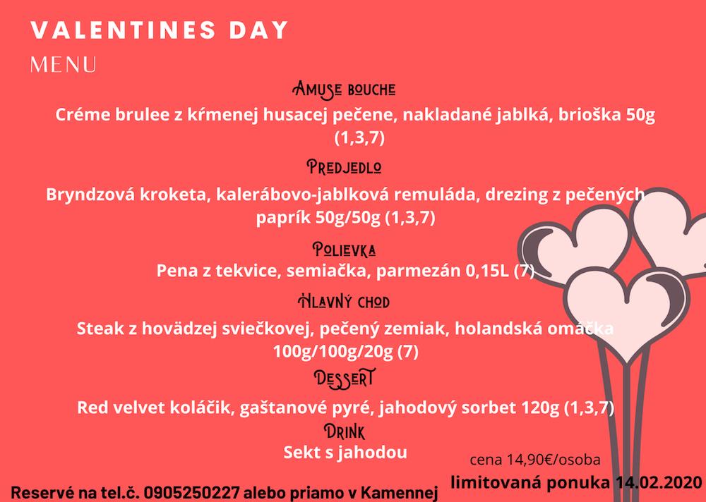 Kamenná piváreň reštaurácia Modra valentínske menu